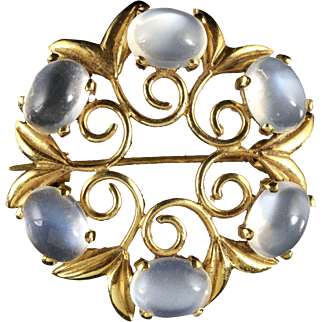 Antique Victorian Moonstone Gold Brooch Circa 1900