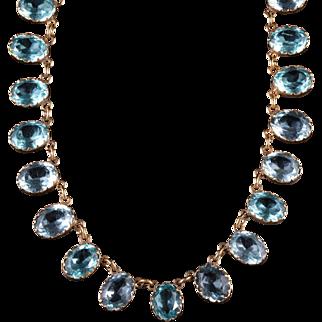 Antique Victorian Blue Aquamarine Paste Necklace Collar Circa 1880
