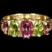 Antique Victorian Suffragette Ring Tourmaline Peridot