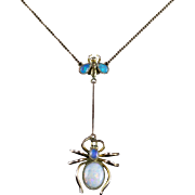 Antique Victorian Opal Spider Fly Necklace Circa 1900