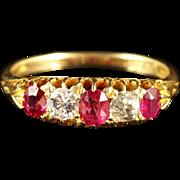 Antique Victorian Ruby Diamond Ring 18ct Gold Circa 1900