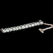Antique Georgian Paste Brooch Long Bar Brooch 1790 Silver Gold