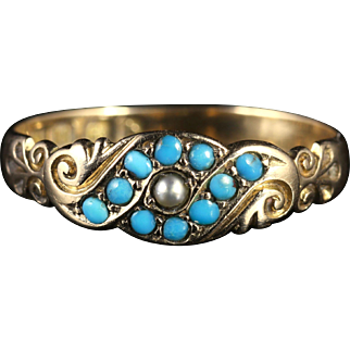 Antique Victorian Turquoise Pearl Ring Dated 1901 18ct Gold