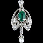 Antique Green White Paste Silver Pendant Circa 1900
