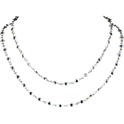 Antique Victorian Long Silver Paste Necklace