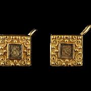 Antique Georgian Mourning 18ct Gold Earrings Circa 1800