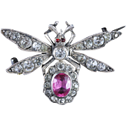 Antique Victorian Pink Paste Silver Insect Brooch Circa 1900