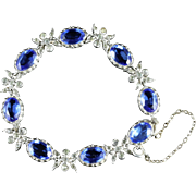 Antique Victorian Silver Blue Paste Bracelet Circa 1900