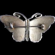 Antique Victorian Enamel Butterfly Deep Red Silver Brooch