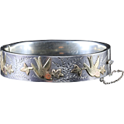 Antique Silver Gold Bangle Gold Birds Ivy