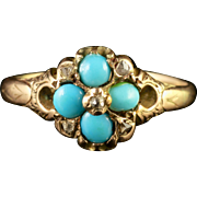 Antique Victorian Turquoise Diamond Cluster Ring Circa 1870
