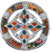 Antique Victorian Silver Scottish Agate Celtic Brooch 1860