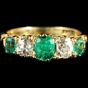 Antique Victorian Emerald Diamond Ring 18ct Gold Circa 1900