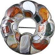 Antique Silver Scottish Buckle Plaid Agate Brooch