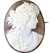 Antique Victorian Shell Portrait Cameo Brooch 9ct Gold