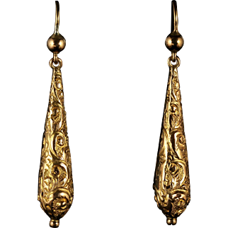 Antique Victorian Gold Earrings Engraved Circa 1870