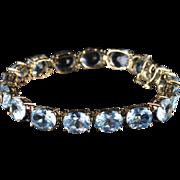 Antique Art Deco Blue Topaz Bracelet Gold Circa 1920 Set