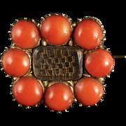 Georgian Coral Gold Mourning Brooch Circa 1800