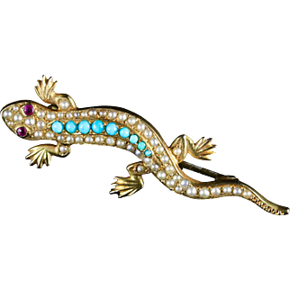 Antique Victorian Turquoise Pearl Lizard Brooch 15ct Gold