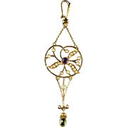 Antique Suffragette Victorian Pendant 15ct Gold Circa 1900