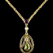 Antique Victorian Suffragette Pendant Necklace 15ct Gold Circa 1900
