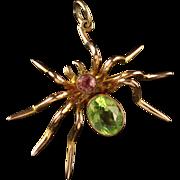Antique Victorian Suffragette Gold Spider Brooch Pink Tourmaline
