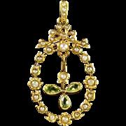 Antique Edwardian Peridot Pearl Pendant 18ct Gold
