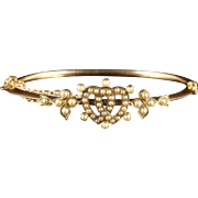 Antique Victorian Double Heart Pearl Bangle 15ct Gold