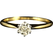 Antique Victorian Diamond Solitaire Engagement Ring 18ct Yellow Gold