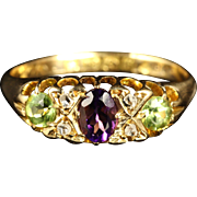 Antique Victorian Suffragette Gold Ring Amethyst Peridot Diamond Dated 1881