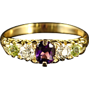 Antique Suffragette Ring 18ct Gold Amethyst Peridot Diamond