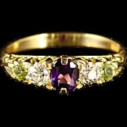 Antique Suffragette Ring 18ct Gold Amethyst Peridot Diamond Circa 1900