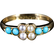 Antique Victorian Turquoise And Pearl Ring 18ct Dated Birmingham 1900