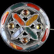 Antique Scottish Celtic Agate Citrine Brooch Circa 1860