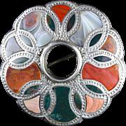Antique Victorian Silver Plaid Agate Brooch Circa 1860