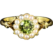 Antique Victorian Peridot And Pearl Ring 18ct Gold