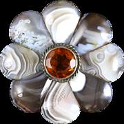 Antique Silver Scottish Agate Brooch Circa 1860