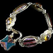 Antique Victorian Scottish Silver Gold Agate Bracelet Circa 1860