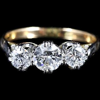 Antique Edwardian Diamond Trilogy Ring 1.70ct Diamond Ring Engagement Ring