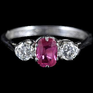 Antique Edwardian Ruby Diamond Trilogy Ring Gordon to Libbie Circa 1910