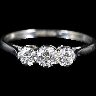 Edwardian Diamond Trilogy Platinum Ring Circa 1910 0.76ct Engagement Ring