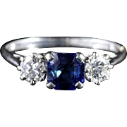 Antique Edwardian Sapphire Diamond Trilogy Ring Circa 1910