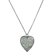 Antique Georgian Silver Paste Heart Pendant Necklace Circa 1820