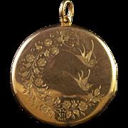 Antique Victorian Rose Gold Locket Love Bird Scene