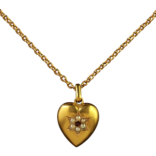 Antique Victorian 15ct Gold Heart Pendant and Chain Dated 1901