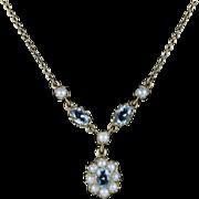 Antique Edwardian Aquamarine Pearl Necklace Circa 1915