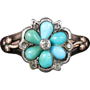 Antique Georgian Turquoise Diamond Ring Locket Back Circa 1830