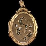 Antique Victorian 9ct Gold Paste Locket Circa 1900