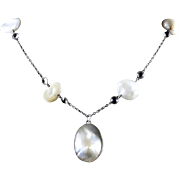 Antique Victorian Silver Blister Pearl Pendant Necklace Circa 1900