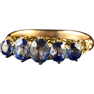 Antique Victorian Sapphire Five Stone Ring 18ct Gold